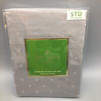 "2pc Kate Spade Standard Pillowcase Set Pair Gray Larabee Dot 20""x32"" NEW"