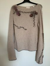 Tricot chic luxe knit wool Angora blend feather rose applique jumper size 10 uk