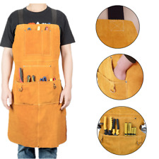 Welding Apron Protective Gear Leather Heat Resistant 36' w/ Multiple Pockets