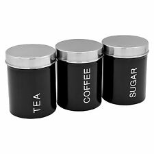 Harbour Housewares Metal Tea Coffee Sugar Canister Set - Black