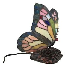 Lampada in stile Tiffany da tavolo farfalla rosa scrivania scrittoio sala casa
