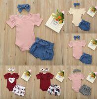 3Pcs 0-24M Baby Girls Infant Romper Set Jumpsuit Bowknot Shorts Outfits Clothing