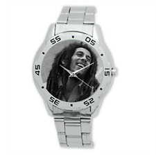 Bob Marley Stainless Steel Watch Jamaican singer-songwriter Laughing black/white