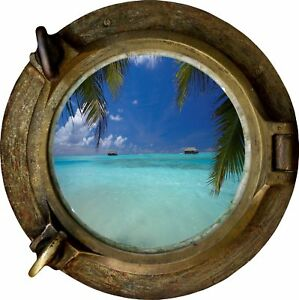 Huge 3D Porthole Exotic Beach View Wall Stickers Film Mural Decal Wallpaper 483