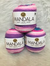 New Lot of 3 Cakes Lion Brand Yarns Mandala Baby - Unicorn Cloud 209