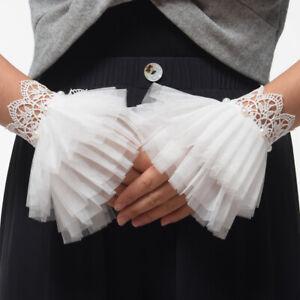 1pr Victorian Antique Lace Wrist Cuffs Lace with beads Lotita Bracelet Vintage