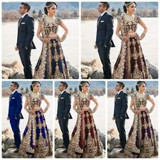 De Diseño Boda Indio Bollywood Nuevo Lengha Terciopelo Ropa Pakistaní Lehenga