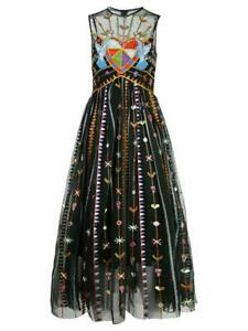 Womens Summer Beads Floral Embroidery Tulle Cocktail Sleeveless Midi Dress Mesh