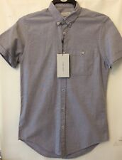 New Mens Short Sleeve Grey Blue Casual Shirt From Zara Size Small Slim Fit