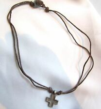 Mens CROSS on Brown Rawhide LEATHER Surfer Choker Pendant NECKLACE
