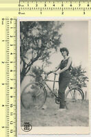 080 1950's Woman on Bicycle Lady Riding Cycling vintage photo original snapshot