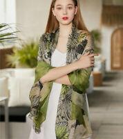 "Women 100% Mulberry Silk Long 74""L55""W Scarf Shawl Floral Print Xmas Gift"