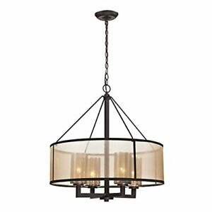 Elk Lighting 57027/4 Diffusion Collection 4 Light Chandelier Oil Rubbed Bronze