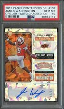 2018 Contenders Cracked Ice College Ticket James Washington RC AUTO /23 PSA 10