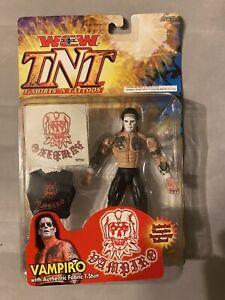 2000 WCW TNT Vampiro Figure MOC ToyBiz Sealed WWE WWF Tattoo Real Hair