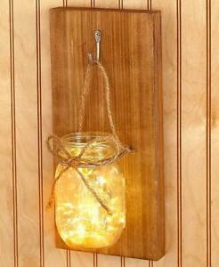 Mason Jar Lighted Wall Sconce Family Farmhouse Lighting w/ 20 mini LED Lights