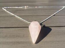 Crystal Pendulum Healing Chakra Dowsing Reiki Pendant Chain Necklace Rose Quartz
