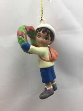 Go Diego Go holding Wreath Christmas Tree Ornament new Santa Hat by Kurt Adler
