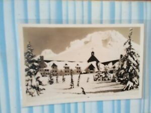 VINTAGE POST CARD WINTER SEASON @ TIMBERLINE LODGE MT.HOOD OREGON