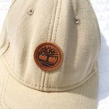 Timberland Men Tan Baseball Hat Leather Patch Canvas Adjustable Cap