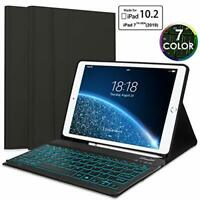Upworld iPad 7th Generation Case with Backlit Keyboard and Pencil Holder, Smart