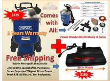 Pacvac Superpro 700 Vacuum Cleaner Backpack 2 Cloth bag Power Brush ESB109 Swiss