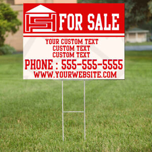 Custom Yard Lawn Plastic Sign with Vinyl Text Logo, Home Commercial Business.