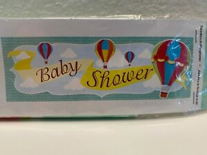 """Up, Up & Away Hot Air Balloon Baby Shower Giant Party Banner 20"""" x60"""" w/Grommets"""