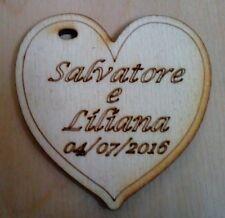 50 cuori cuoricini segnaposto matrimonio legno con incisione personalizzata