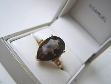 AMAZING 9CT 9K GOLD 5.5 CT SMOKY QUARTZ & CITRINE DRESS RING SIZE O UNUSUAL RARE