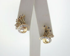 Estate 1/3ct Genuine Diamonds Solid 18k Yellow Gold Floral Earrings