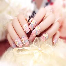 24pcs Rainbow Flower Long Fake Nails Art Tips Acrylic Nail False Artificial Nail