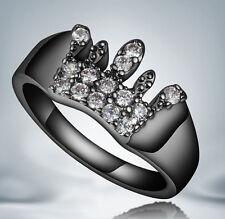 New White Sapphire Birthstone Black Gold Filled Wedding Bridal Ring Gift Size 7