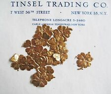 40pc Vintage/Antique Gold 4 Leaf Clover Dresden Diecut Scrap St Patrick's Day