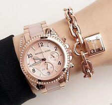 ✅ Michael Kors Women's Blair Chrono 100m Rose Gold Stainless Steel Watch MK5943