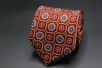 ROBERT TALBOTT Best of Class Tie. Vibrant Red w Yellow & Blue Floral Medallion.