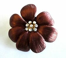 Brooch Gold Plated Enamel Flower Bronze Pin Vintage Rhinestone Free Shipping