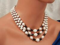 Beautiful Vintage 1950 Black & White Plastic Hong Kong Necklace       1242my
