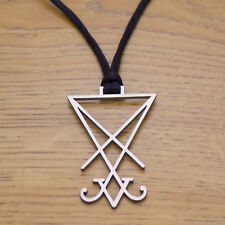 Stainless Steel Sigil of Lucifer Seal of Satan Pendant & Black Cord Necklace