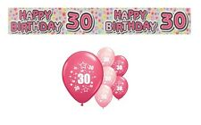 30th BIRTHDAY PARTY PACK DECORATIONS BANNER BALLOONS (EX.P.1)