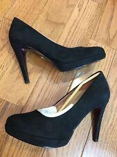 Tamaris 50s Classy Suedine Heart Sole Black Pump Heel Size EU 37/US 6.5-7
