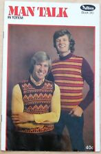 Patons Knitting Book No 310 Man Talk Retro 1972 Poncho/Jumpers/Cardigans/Vest