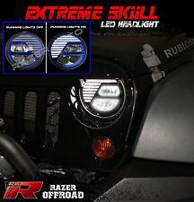 Rock Crawler Blue LED Headlight DRL+Hi+Lo Beam+Cree for 07-17 Jeep JK Wrangler