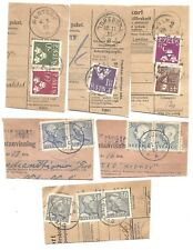 Sweden - Six 1950's Government Registration Card Cuts With Cancels