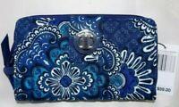 VERA BRADLEY RFID Turnlock & Zip Wallet - Navy Blue Tapestry - New with Tag