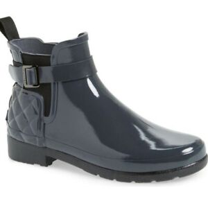 Hunter Womens Quilted Chelsea Waterproof Boots Dark Slate Size 9 US WFS1032RGL