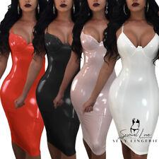 Completo Abito Aderente Latex PU Mistress Clubwear Discoteca Vestito Lucido Sexy