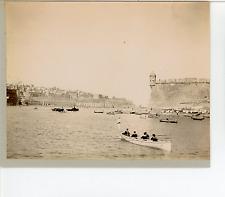 Malta, Valletta, British sailors in the Valletta Harbor   Vintage albumen print.