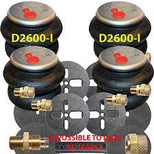 """2600-I 4 Air Bags 1/2"""" Fittings Airhose Springs Suspension w/Circle Brackets"""