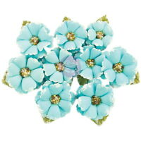 BOREAL Blue - 9 Fabric Flowers with Beads & Flocking Centre 30-40mm PRIMA 2017